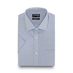The Collection - Light Yellow Fine Checked Short Sleeve Regular Fit Shirt
