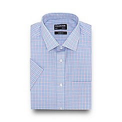 The Collection - Blue Mini Checked Short Sleeve Regular Fit Shirt