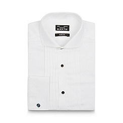 Black Tie - White pleated high shine slim shirt
