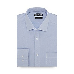 The Collection - Blue Grid Check Long Sleeve Classic Fit Shirt