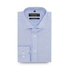 Hammond & Co. by Patrick Grant - Big and Tall Light Blue Prince Of Wales Long Sleeve Tailored Fit Shirt