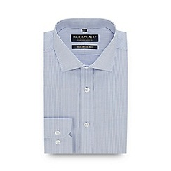 Hammond & Co. by Patrick Grant - Blue Textured Grid Long Sleeve Tailored Fit Shirt