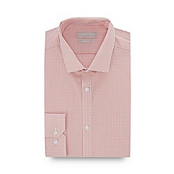 Red Herring - Light Orange Gingham Check Long Sleeve Slim Fit Shirt