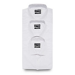 The Collection - Big and tall pack of three white tailored fit shirts