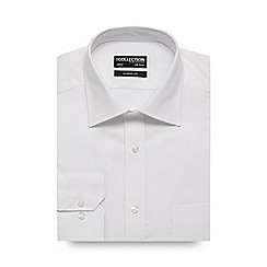The Collection - Big and tall white self striped regular fit shirt