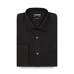 The Collection - Big and tall black long sleeved semi cutaway shirt