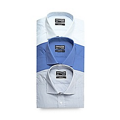The Collection - Big and tall pack of three blue striped formal shirts