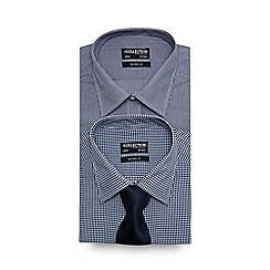 The Collection - Big and tall set of two navy gingham checked tailored fit shirts with a navy tie