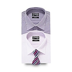 The Collection - Big and tall pack of two purple and lilac printed shirts with a tie