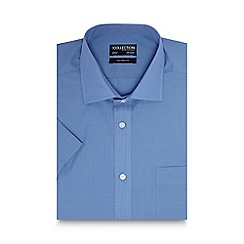The Collection - Big and tall blue short sleeved tailored fit shirt