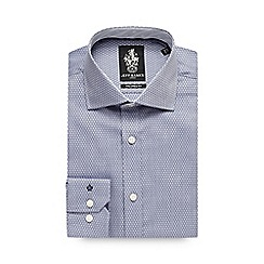 Jeff Banks - Big and tall navy diamond texture formal shirt