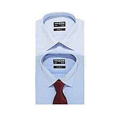 The Collection - Big and tall pack of two blue patterned tailored fit shirts and tie set