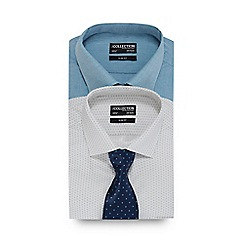 The Collection - Pack of two navy and blue striped print slim fit shirts with a tie
