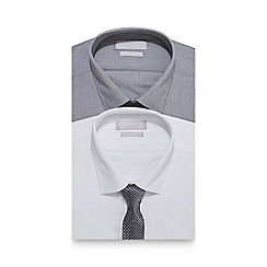 Red Herring - Pack of two white and grey slim fit shirt and tie