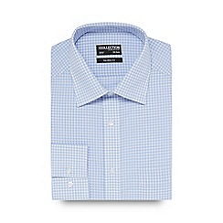 The Collection - Big and tall blue checked print tailored fit shirt
