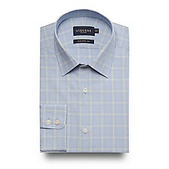 Osborne - Big and tall blue Prince of Wales checked tailored fit shirt