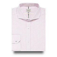 Racing Green - Pink striped tailored fit shirt
