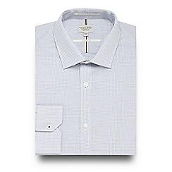 Racing Green - Navy dobby textured regular fit shirt
