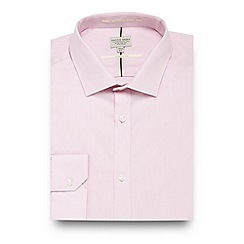 Racing Green - Pink twill regular fit shirt