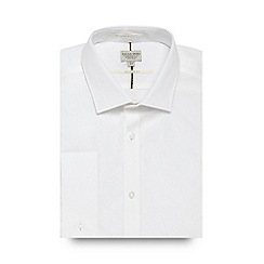Racing Green - White twill tailored fit shirt