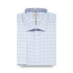 Racing Green - Big and tall blue checked tailored fit shirt