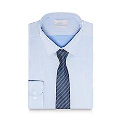 Red Herring - Blue herringbone slim fit shirt