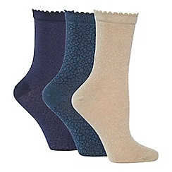 The Collection - 3 pack floral knit ankle socks