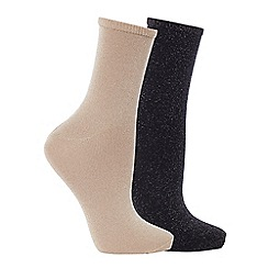 The Collection - 2 pack glitter ankle socks