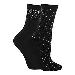 The Collection - 2 pack black studded fashion ankle socks