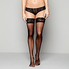 J by Jasper Conran - Black opaque 10 denier velvet top hold-ups