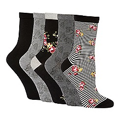 The Collection - 5 pack black and grey floral stripe cotton blend ankle socks