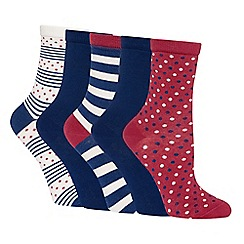 The Collection - 5 pack navy and burgundy spot stripe pattern cotton ankle socks