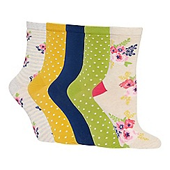 The Collection - 5 pack multicoloured floral spot pattern cotton blend ankle socks