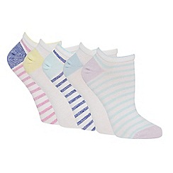 The Collection - 5 pack multi-coloured twisted stripe trainer socks