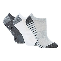 The Collection - 3 pack grey cotton blend printed trainer socks
