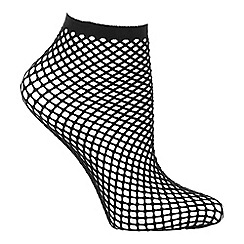 Pretty Polly - Black rope net ankle socks