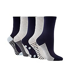 The Collection - 5 pack navy spot stripe ankle socks