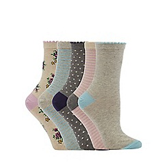 The Collection - 5 pack multicoloured floral embroidered ankle socks