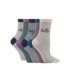 The Collection - 5 pack multicoloured Hello slogan ankle socks