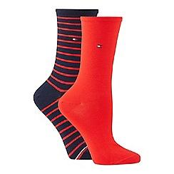 Tommy Hilfiger - 2 pack red stripe cotton blend ankle socks