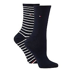 Tommy Hilfiger - 2 pack navy stripe cotton blend ankle socks