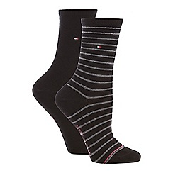 Tommy Hilfiger - 2 pack black stripe cotton blend ankle socks a9833d6c4ca