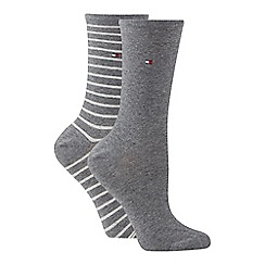 Tommy Hilfiger - 2 pack grey stripe cotton blend ankle socks 74cc7ef8554