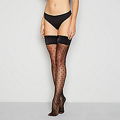 J by Jasper Conran - Black sheer spot hold-ups