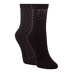 The Collection - 2 pack black studded cotton blend ankle socks