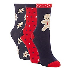 The Collection - 3 pack navy gingerbread print ankle socks