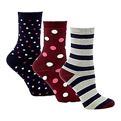 The Collection - 3 pack multicoloured stripe and spot cotton blend boot socks