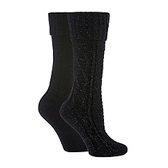 The Collection - 2 pack black supersoft thermal socks