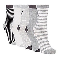 The Collection - 5 pack grey supersoft printed ankle socks