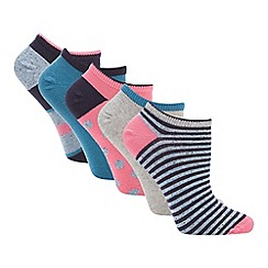 The Collection - 5 pack navy colour block stripe cotton blend trainer socks